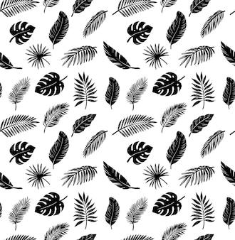 Modello senza cuciture con foglie di disegno di palma tropicale.