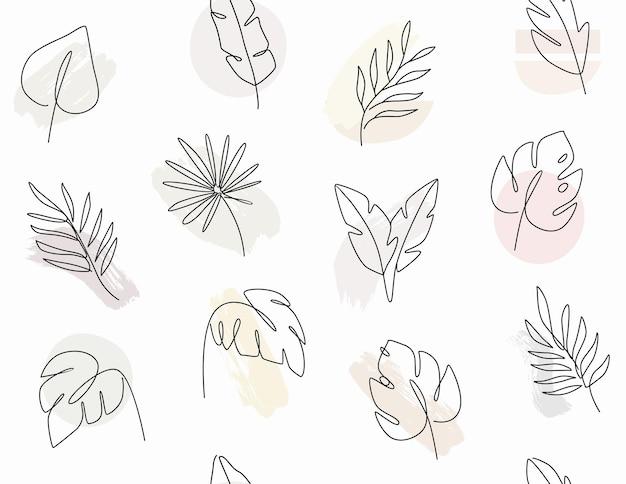Modello senza cuciture con foglie disegno a tratteggio di foglie di palma tropicale.