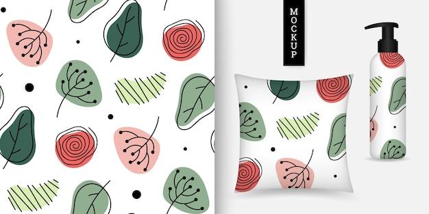 Modello senza cuciture con foglie e scarabocchio in stile disegnato a mano