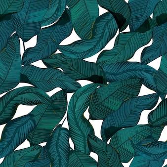 Modello senza saldatura con foglie. tropicale