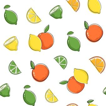Modello senza cuciture con limone, lime e arancia. design senza cuciture con disegno di agrumi