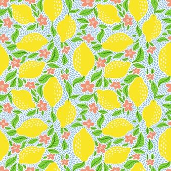 Modello senza cuciture con limoni e fiori. reticolo fresco dell'agrume dell'illustrazione di vettore isolato su priorità bassa bianca. limone maturo, foglie e fiori in fiore.