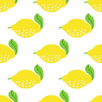 Modello senza cuciture con limoni e foglie. reticolo fresco dell'agrume dell'illustrazione di vettore isolato su priorità bassa bianca. limone maturo e foglie.