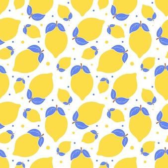 Modello senza soluzione di continuità con i limoni. semplice motivo estivo blu-giallo con agrumi. elementi piatti