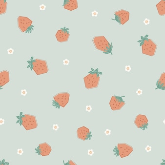 Modello senza cuciture con fragole e fiori carini in colori pastello. sfondo verde con frutti di bosco freschi. illustrazione in stile piatto per bambini di abbigliamento, tessuti, carta da parati. vettore