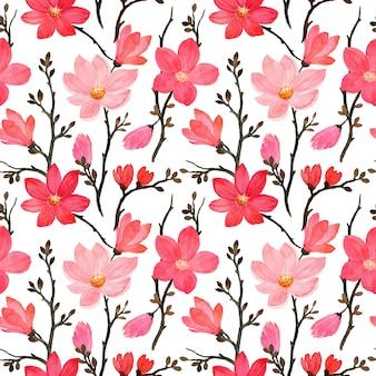 Modello senza saldatura con acquerello fiore di magnolia