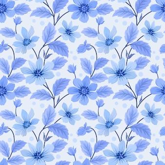 Modello senza cuciture con foglie e fiori blu monocromatici