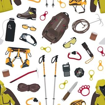 Modello senza cuciture con attrezzatura alpinistica e turistica, strumenti per alpinismo, abbigliamento su bianco