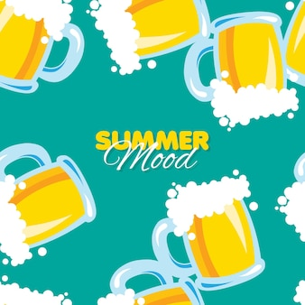 Modello senza cuciture con boccale di birra summer mood