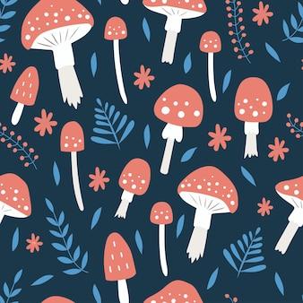 Modello senza cuciture con foglie e fiori di funghi su uno sfondo blu scuro fly agaric