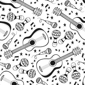 Modello senza cuciture con strumenti musicali in stile doodle.