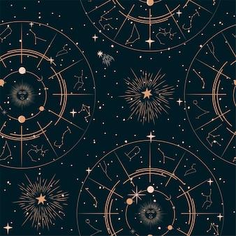 Modello senza cuciture con elementi mistici e astrologici, oggetti spaziali, pianeta, costellazione, canta dello zodiaco