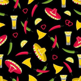 Modello senza cuciture con nachos, peperoncino, tequila e sombrero