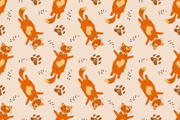 Modello senza cuciture con gatto arancione sdraiato sulla schiena l'animale si riposa e si rilassa