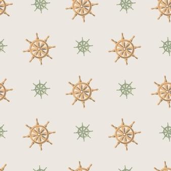 Modello senza cuciture con sagome di timone nave decorativo arancione. sfondo grigio. stampa disegnata a mano.