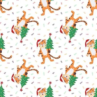 Modello senza cuciture con un cucciolo di tigre a strisce arancioni in un cappello rosso di babbo natale con un albero di natale fes...