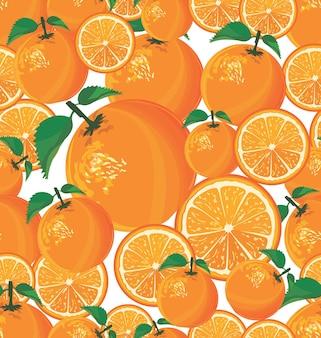 Modello senza cuciture con arancia su sfondo bianco