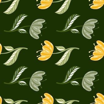 Modello senza cuciture con elementi di fiori di papavero organici in colori arancioni Vettore Premium