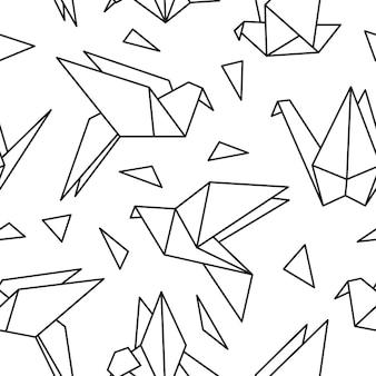 Modello senza cuciture con uccelli origami. può essere utilizzato per lo sfondo del desktop o la cornice per appendere a parete o poster, per riempimenti a motivo, trame di superfici, sfondi di pagine web, tessuti e altro ancora.