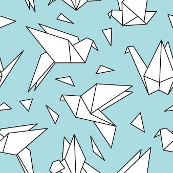 Modello senza saldatura con uccelli origami.