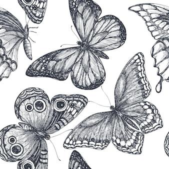 Modello senza cuciture con farfalle disegnate a mano doodle ornato. bellissimo sfondo vettoriale