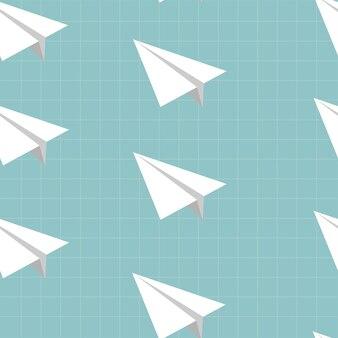 Modello senza cuciture con l'icona dell'aeroplano di carta sul quaderno. torna al concetto di scuola.