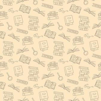 Modello senza cuciture con libri di carta. biblioteca di casa, pile di libri, bicchieri in stile doodle. illustrazione disegnata a mano