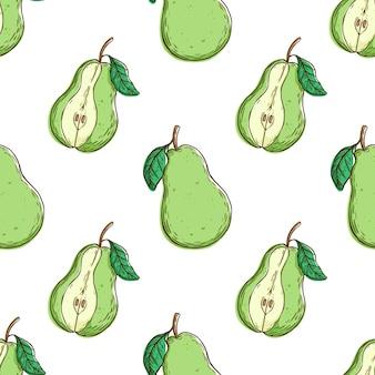 Seamless con pera e foglie