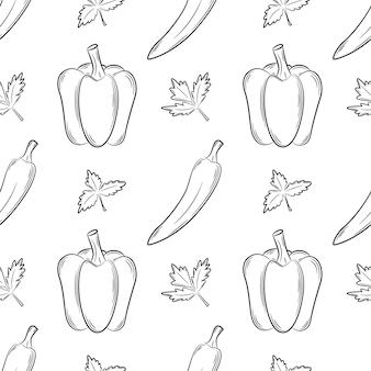 Modello senza cuciture con peperoni ed erbe aromatiche. reticolo in bianco e nero con le verdure. stile lineare