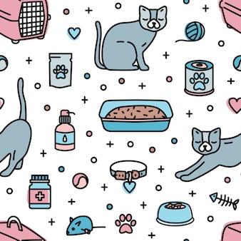 Modello senza cuciture con prodotti del negozio di animali per gatti domestici che mantengono su bianco
