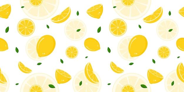 Modello senza cuciture con pezzi di limone premium vector