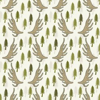 Seamless pattern con alberi di pino e corna. disegno a mano disegnato modello vettoriale per sfondo tessile o web