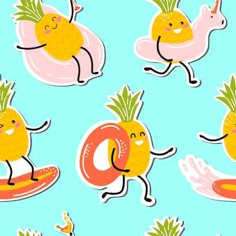 Modello senza cuciture con ananas kawaii