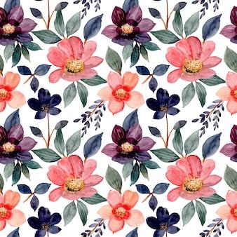 Modello senza cuciture con l'acquerello fiore rosa