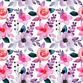 Modello senza cuciture con il fiore rosa viola dell'acquerello Vettore Premium
