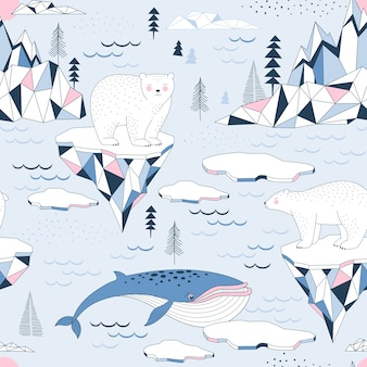 Modello senza cuciture con polar bea, r blue whale, ocean, mountains e iceberg blocks of ice north landscape