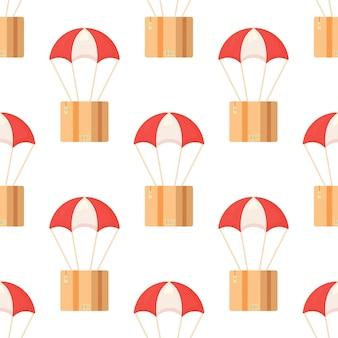 Modello senza cuciture con pacchi postali in scatole con indirizzo di consegna e buste. illustrazione vettoriale di stampa scatola di paracadute. paracadute rossi e bianchi luminosi.