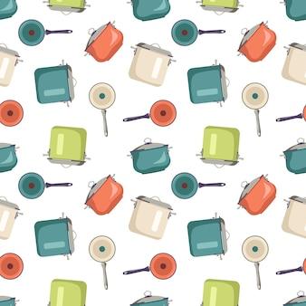 Modello senza cuciture con pentole e padelle stampa da cucina con utensili per cucinare oggetti da cucina sullo sfondo