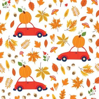 Modello senza saldatura con zucche su auto, foglie che cadono, elementi floreali autunnali.
