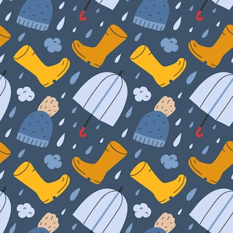 Modello senza cuciture con stivali da pioggia e ombrello Vettore Premium