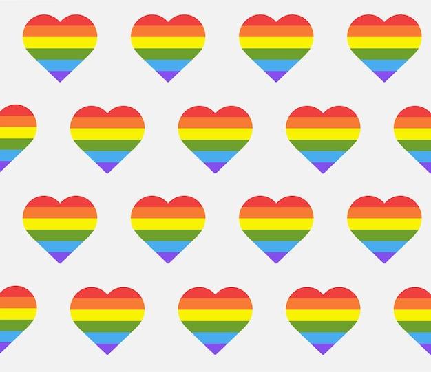 Modello senza cuciture con cuori arcobaleno a forma di cuore in bandiera lgbtq su sfondo bianco