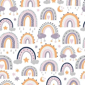 Motivo senza cuciture con arcobaleni per l'arredamento della scuola materna