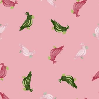 Modello senza cuciture con elementi casuali di pappagalli rosa, bianchi e verdi. sfondo rosa pastello. perfetto per il design del tessuto, la stampa tessile, il confezionamento, la copertura. illustrazione vettoriale.