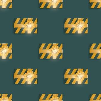 Modello senza cuciture con regali realistici. sfondo infinito. colore verde e giallo. adatto per cartoline, stampe, carta marrone e sfondi. vettore