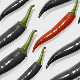 Modello senza cuciture con peperoncini messicani realistici, peperoncino di colori rosso e nero