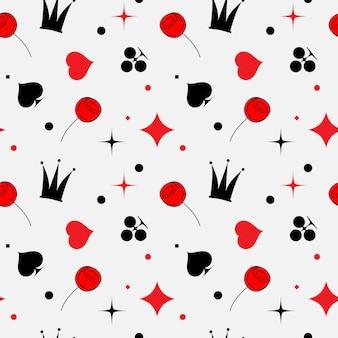 Modello senza cuciture con segni di semi di carte rosso e nero