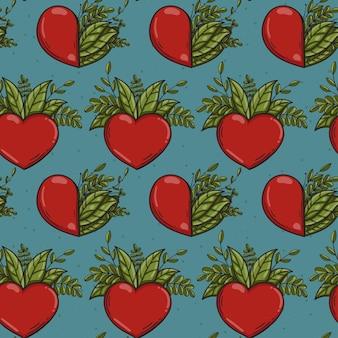 Modello senza cuciture con cuori rossi e foglie verdi in stile doodle