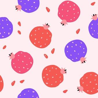 Modello senza cuciture con melograni rossi su sfondo rosa. stile piatto moderno, design memphis. illustrazione vettoriale disegnato a mano. texture per stampa, tessuto, tessuto, carta da parati