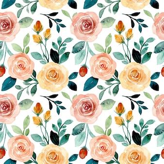 Modello senza cuciture con acquerello floreale di rose
