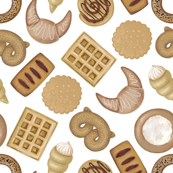 Modello senza cuciture con biscotti rotondi, cialde, muffin e bagel
